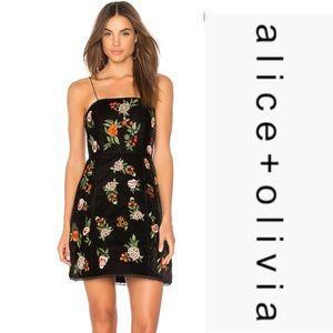 alice + olivia Launa Embroidered Velvet Dress*NWT